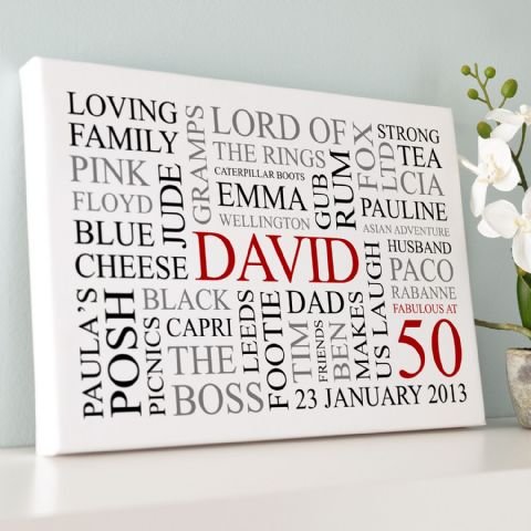 Personalised 50th Birthday Word Art